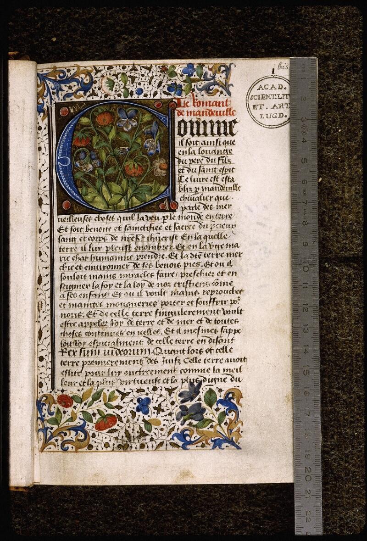 Lyon, Bibl. mun., ms. Palais des Arts 028, f. 001 bis - vue 1
