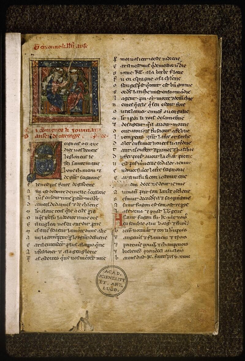 Lyon, Bibl. mun., ms. Palais des Arts 059, f. 001 - vue 2