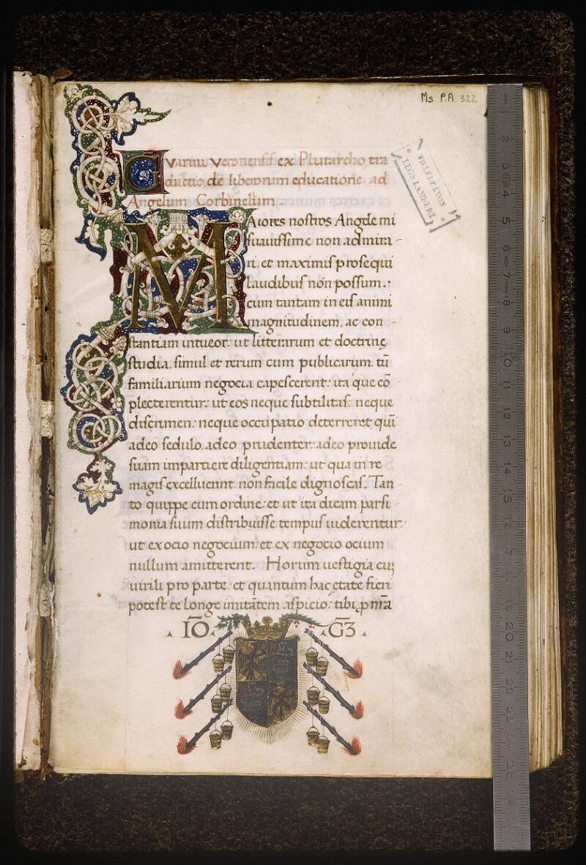 Lyon, Bibl. mun., ms. Palais des Arts 322, p. 001 - vue 1