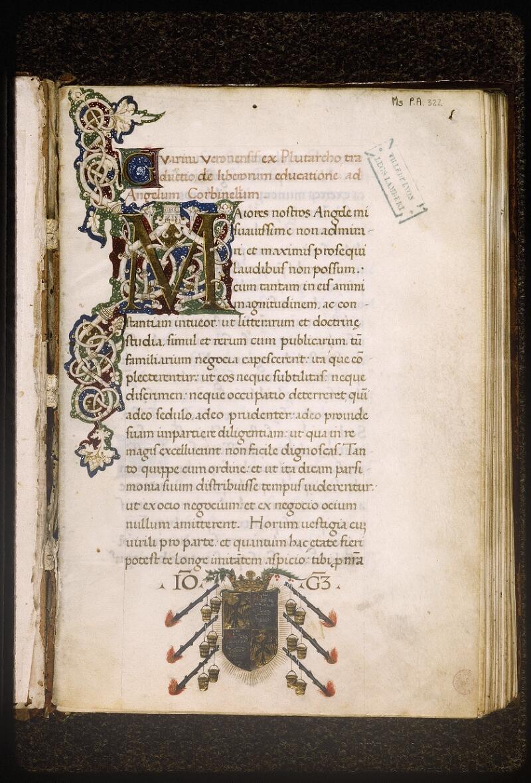 Lyon, Bibl. mun., ms. Palais des Arts 322, p. 001 - vue 2