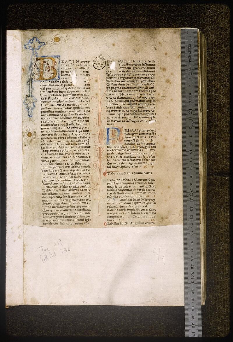 Lyon, Bibl. mun., inc. 0109, A f. 001 - vue 1
