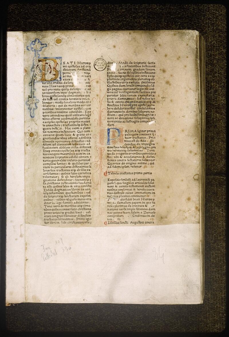 Lyon, Bibl. mun., inc. 0109, A f. 001 - vue 2