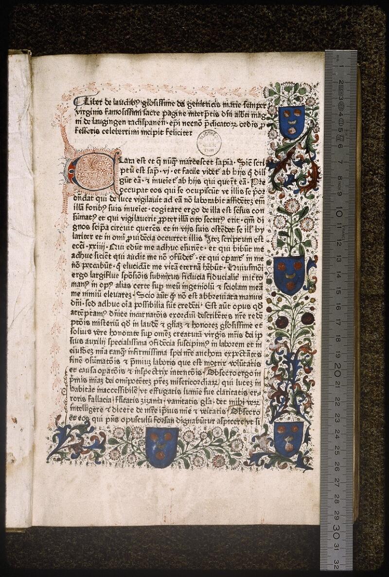 Lyon, Bibl. mun., inc. 0152, p. 001 - vue 1