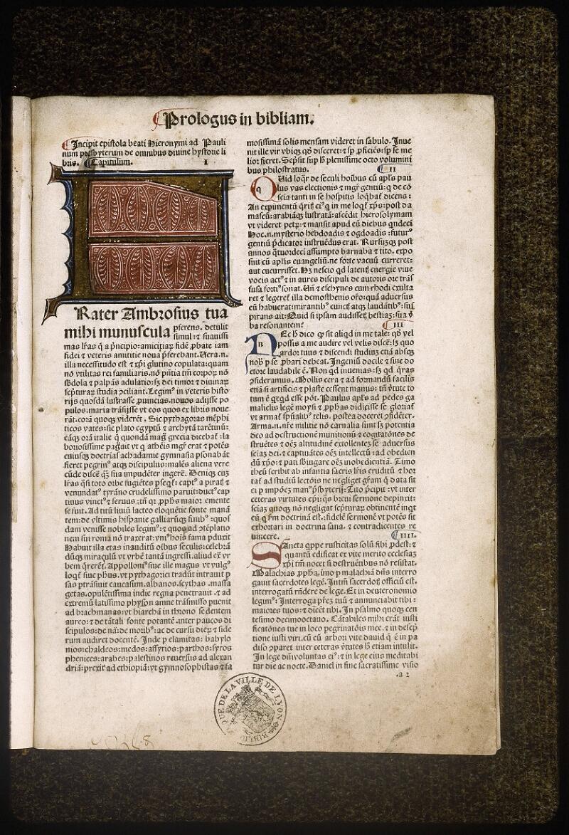 Lyon, Bibl. mun., inc. 0419, f. a 2 - vue 2