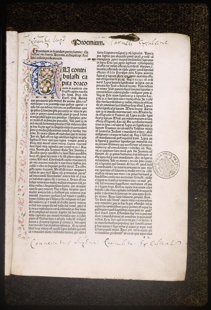 Lyon, Bibl. mun., inc. 0431, f. a 2 - vue 2