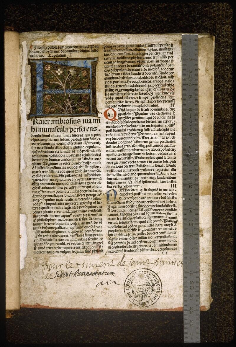 Lyon, Bibl. mun., inc. 0593, f. a 2 - vue 1