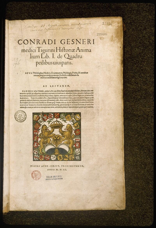 Lyon, Bibl. mun., rés. 031356, p. 0001 - vue 2