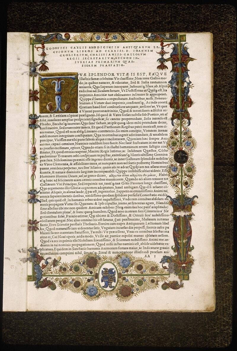 Lyon, Bibl. mun., rés. 106878, f. AA 2 - vue 2