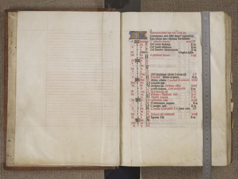 NANTES, Musée Dobrée, ms. 0011, f. 002v - 003 avec réglet