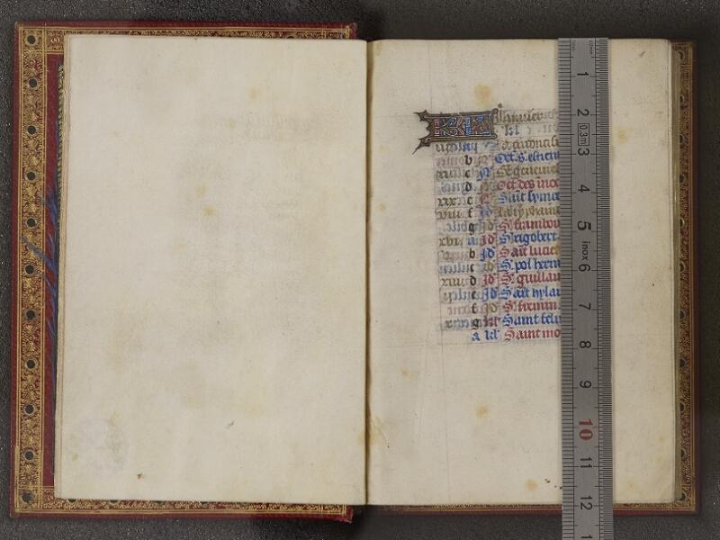 NANTES, Musée Dobrée, ms. 0012 t.1, feuillet vierge - f. 001 avec réglet