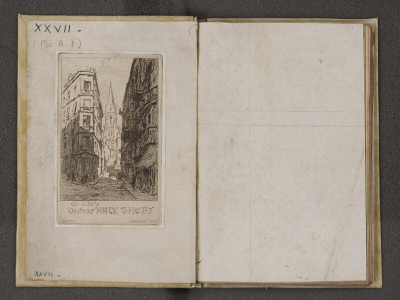 NANTES, Musée Dobrée, ms. 0027, contreplat supérieur - garde