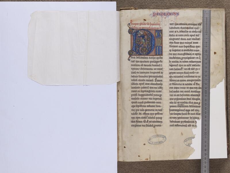 NEUFCHATEL-EN-BRAY, Musée Mathon-Durand, Inv. 68.22.1, feuille de soie - f. 001 (avec réglet)