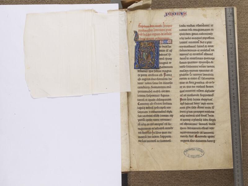 NEUFCHATEL-EN-BRAY, Musée Mathon-Durand, Inv. 68.22.4, garde verso - f. 001 (avec réglet)