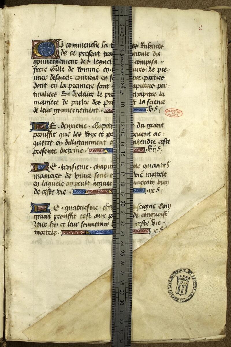 Rennes, Bibl. mun., ms. 0153, f. 000C - vue 1