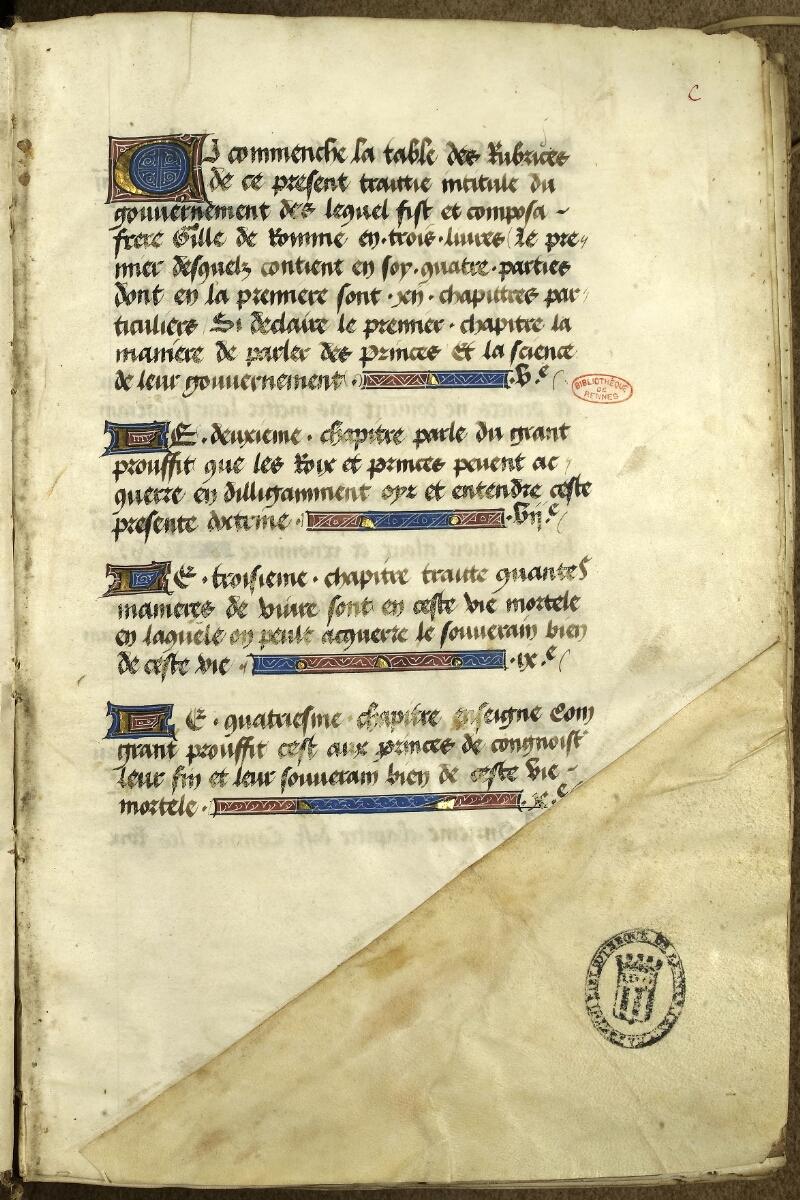 Rennes, Bibl. mun., ms. 0153, f. 000C - vue 2