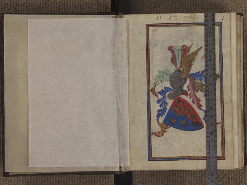RENNES, Bibliothèque municipale, 0031, contregarde (feuillet masqué) - 001 avec réglet