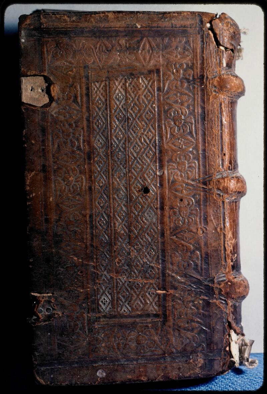 Sées, Bibl. de l'Evêché, ms. 0021, reliure plat inf.