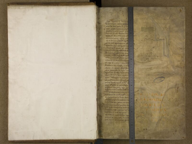 SAINT-OMER, Bibliothèque municipale, 0002, f. 000Bv - f. 001 avec réglet