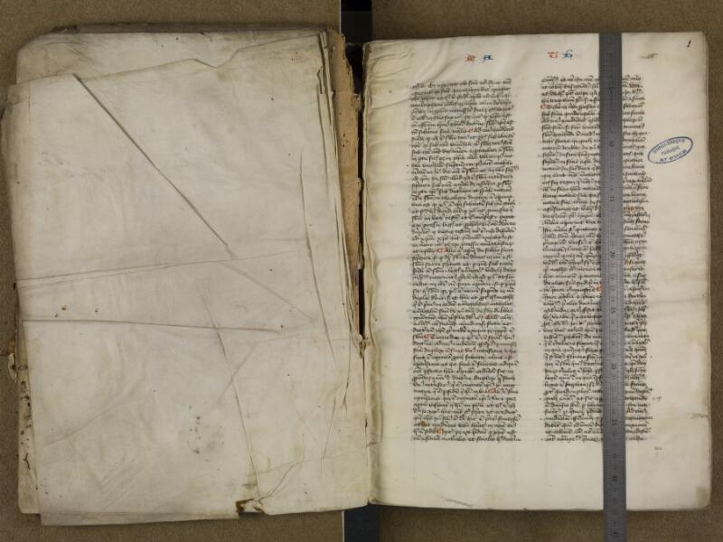 SAINT-OMER, Bibliothèque municipale, 0006, vol. 2, f. 000Av - f. 001 avec onglet
