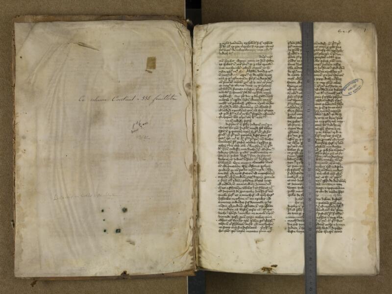 SAINT-OMER, Bibliothèque municipale, 0006, vol. 3, contreplat supérieur - f. 001 avec réglet