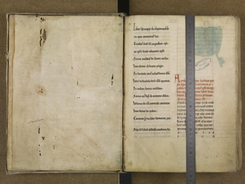 SAINT-OMER, Bibliothèque municipale, 0046, f. 000Av - f. 001 avec réglet