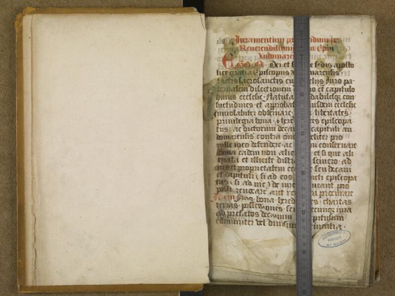 SAINT-OMER, Bibliothèque municipale, 0056, f. 000Av - f. 001 avec réglet