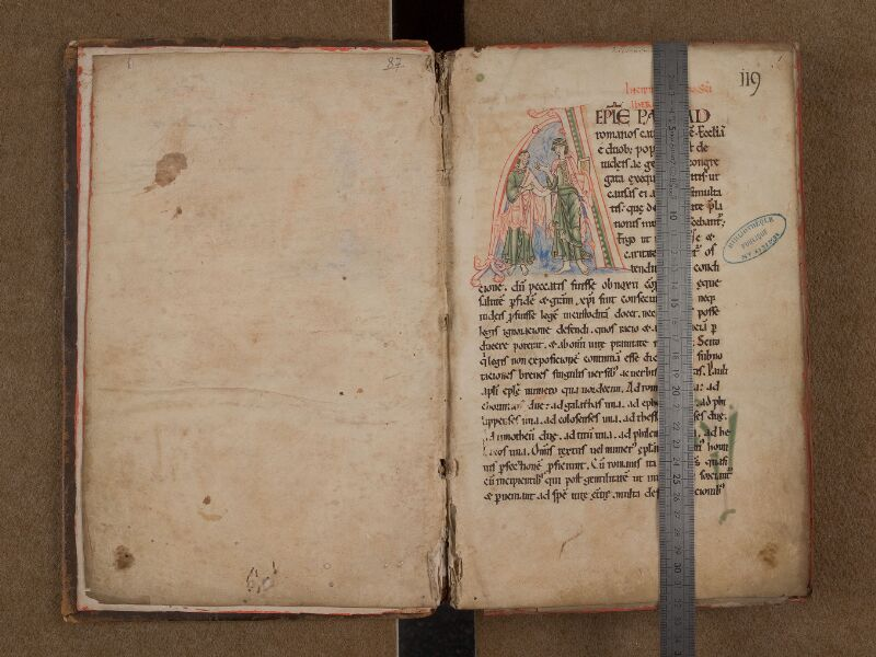SAINT-OMER, Bibliothèque municipale, 0087, f. 000Bv - f. 001 avec réglet
