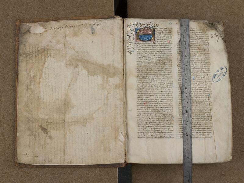 SAINT-OMER, Bibliothèque municipale, 0122, f. 001v - f. 002 avec réglet