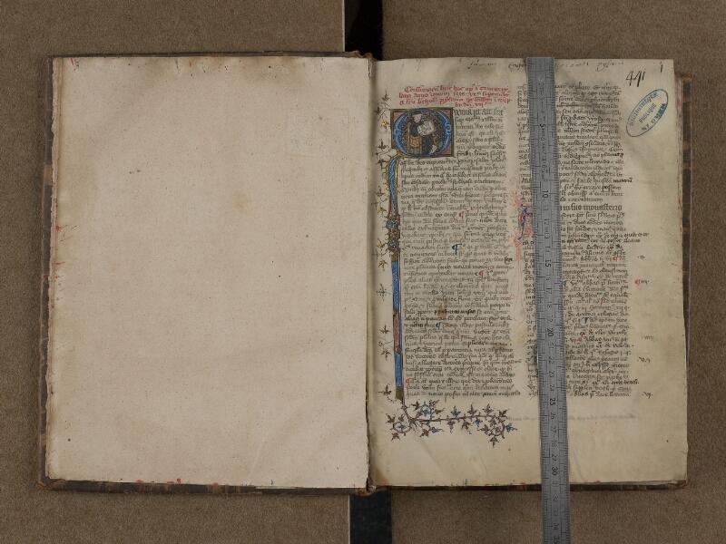 SAINT-OMER, Bibliothèque municipale, 0165, f. 000Bv - f. 001 avec réglet