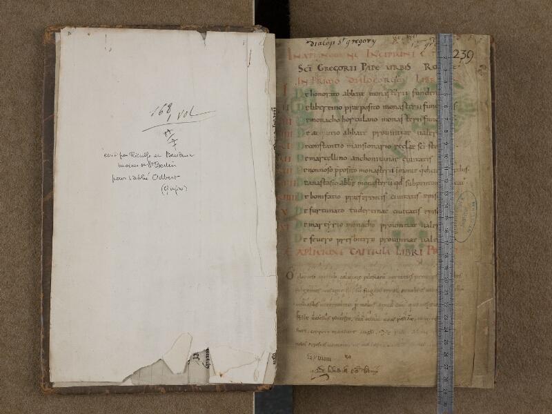 SAINT-OMER, Bibliothèque municipale, 0168, f. 000Av - f. 001 avec réglet