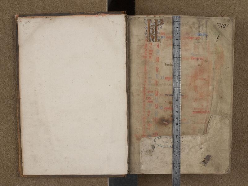 SAINT-OMER, Bibliothèque municipale, 0232, f. 000Av - f. 001 avec réglet