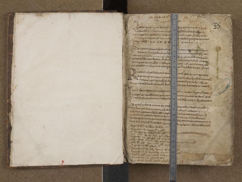 SAINT-OMER, Bibliothèque municipale, 0254, f. 000Cv - f. 001 avec réglet