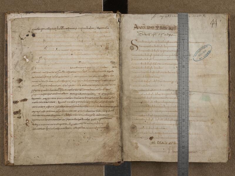 SAINT-OMER, Bibliothèque municipale, 0268, f. 000Cv - f. 001 avec réglet