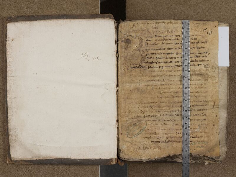 SAINT-OMER, Bibliothèque municipale, 0269, f. 000A - f. 001 avec réglet