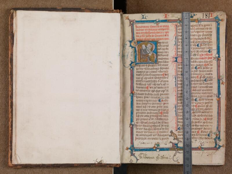 SAINT-OMER, Bibliothèque municipale, 0287, vol. 1, f. 000Bv - f. 001 avec réglet