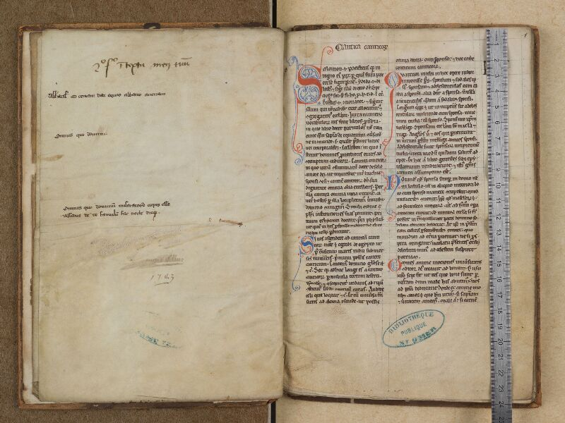 SAINT-OMER, Bibliothèque municipale, 0291, f. 000Dv - f. 001 avec réglet