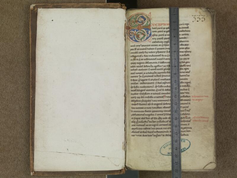 SAINT-OMER, Bibliothèque municipale, 0364, f. 000Av - f. 001 avec réglet