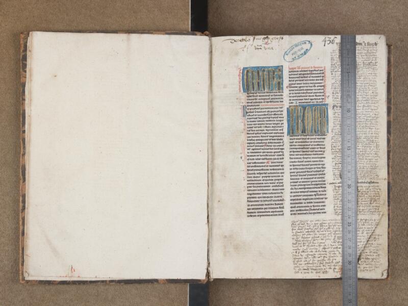 SAINT-OMER, Bibliothèque municipale, 0436, f. 000Bv - f. 001 avec réglet