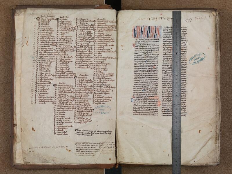 SAINT-OMER, Bibliothèque municipale, 0480, f. 001v – 002 avec réglet
