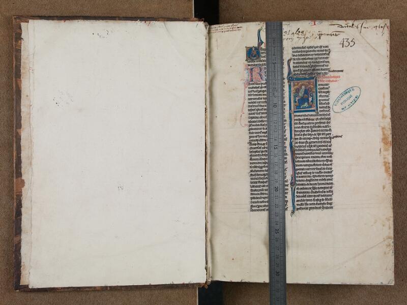 SAINT-OMER, Bibliothèque municipale, 0488, f. 000Bv - f. 001 avec réglet