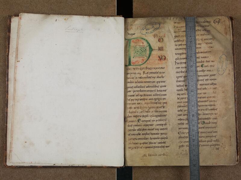SAINT-OMER, Bibliothèque municipale, 0697, f. 000Cv - f. 001 avec réglet