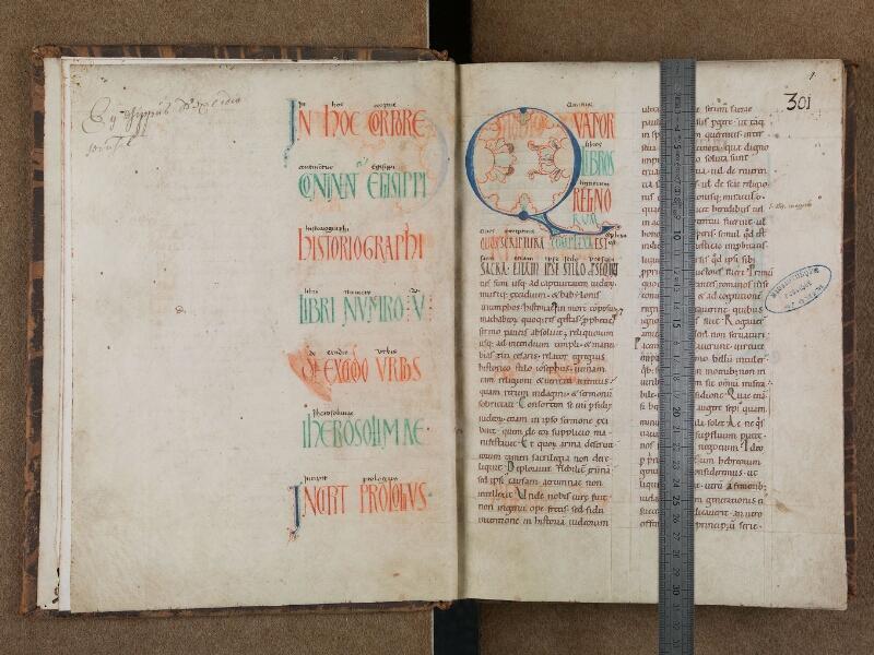SAINT-OMER, Bibliothèque municipale, 0700, f. 000Cv - f. 001 avec réglet