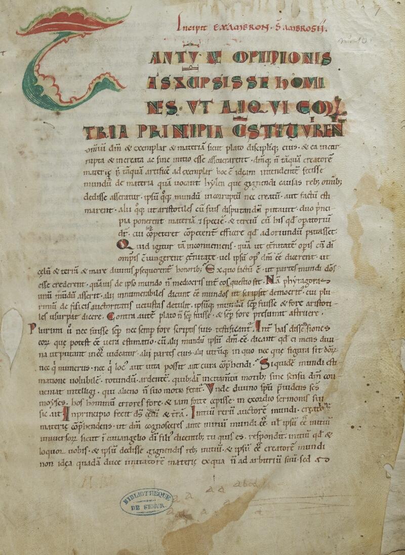 Semur-en-Auxois, Bibl. mun., ms. 0010, f. 001 - vue 1