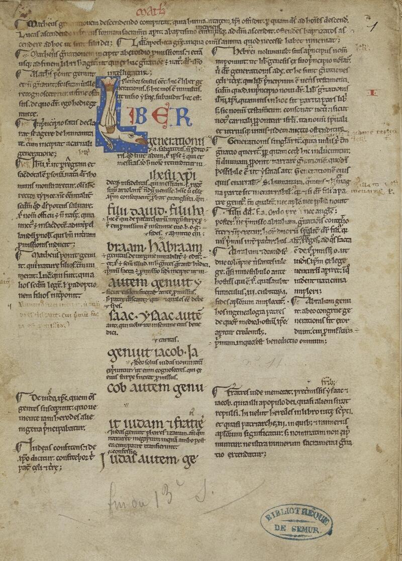Semur-en-Auxois, Bibl. mun., ms. 0012, f. 001 - vue 1