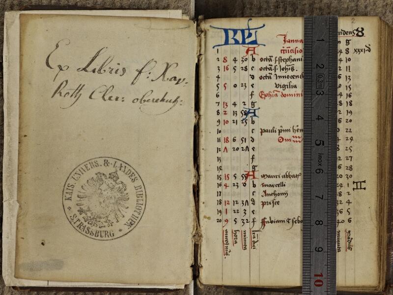 Strasbourg, Bibl. univ., ms. 0336, f. 001v-002 - vue 1