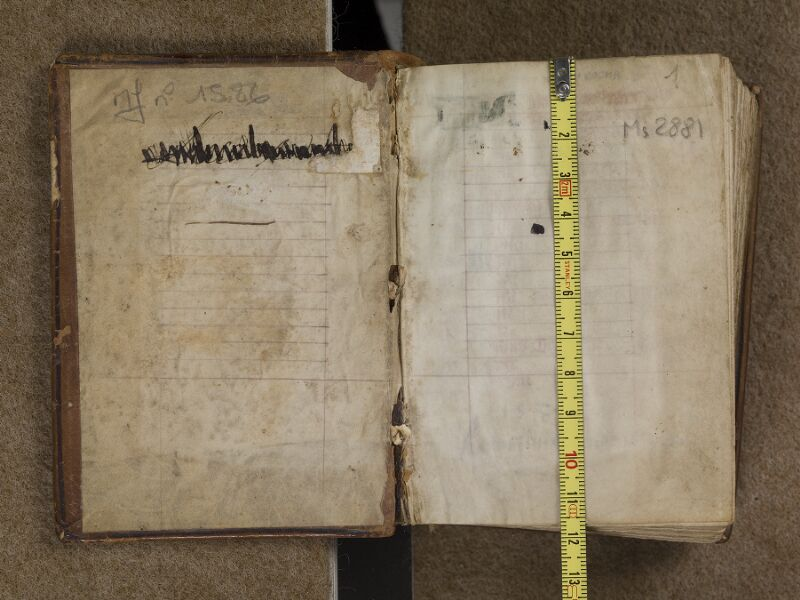 TOULOUSE, Bibliothèque municipale, 2881, contreplat supérieur - f. 001 avec réglet
