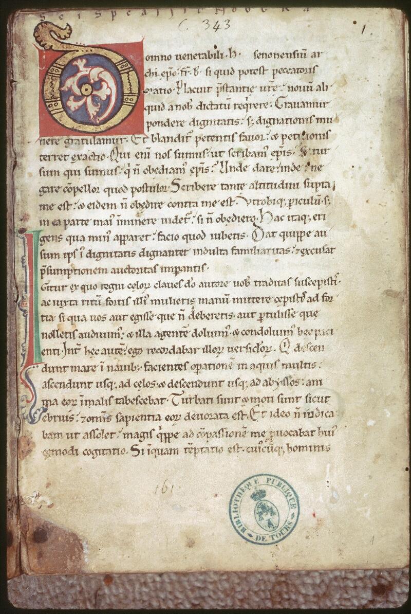 Tours, Bibl. mun., ms. 0343, f. 001 - vue 1
