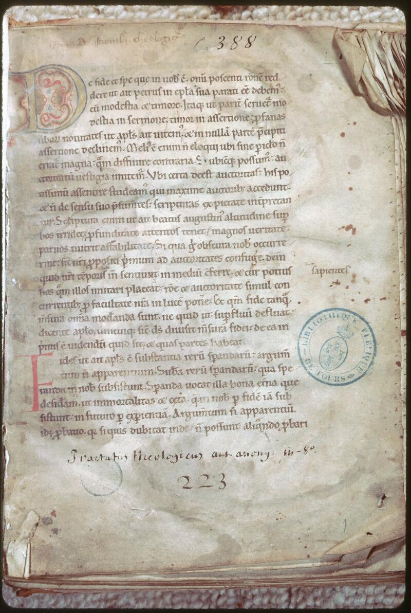 Tours, Bibl. mun., ms. 0388, f. 001