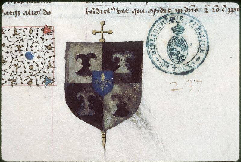 Tours, Bibl. mun., ms. 0389, f. 001 - vue 2