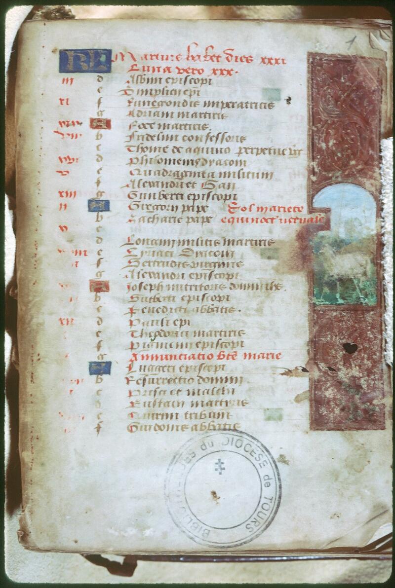 Tours, Bibl. mun., ms. Diocèse 05, f. 001